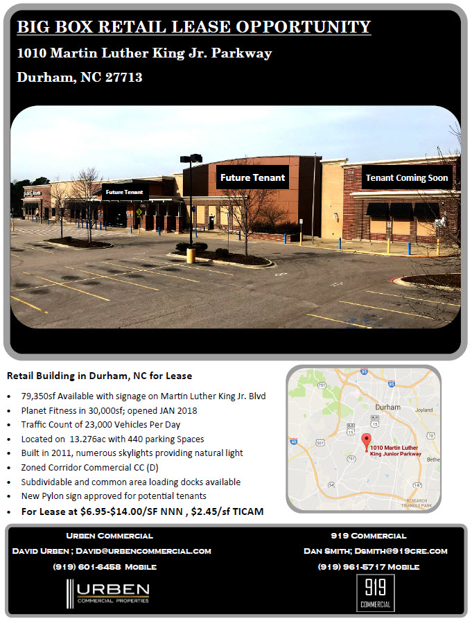 Durham Retail Space for lease